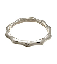 Silver-Plated Stainless Steel Bamboo Bangle