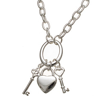 Silver-Plated Stainless Steel Heart & Key Charm Necklace