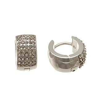 Silver-Plated Stainless Steel Huggie with Cubic Zirconia Hoop Earrings