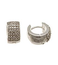 Silver-Plated Stainless Steel Huggie with Cubic Zirconia Hoop Earrings