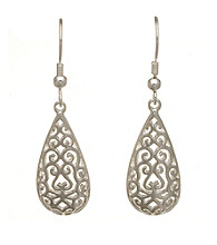 Silver-Plated Stainless Steel Filigree Teardrop Earrings