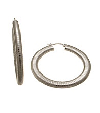 Silver-Plated Stainless Steel Hoop 50mm Earrings