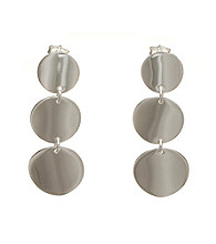 Silver-Plated Stainless Steel Triple Circle Drop Earrings