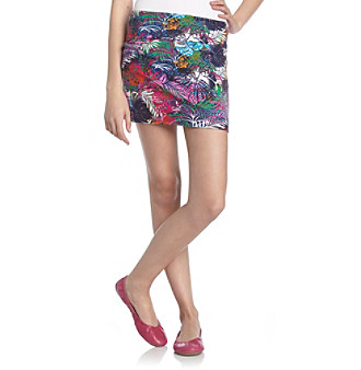 Belle du Jour Juniors' Neon Leaf Pattern Body-Con Skirt