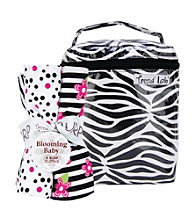 Trend Lab Black and White Zebra Bottle Bag and Burp Cloth Bouquet Set