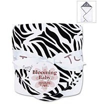 Trend Lab Black and White Zebra Hooded Towel Bouquet