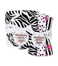 Trend Lab Black and White Zebra Hooded Towel and Wash Cloth Bouquet Set