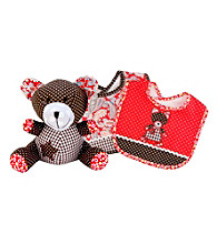 Trend Lab Chocolate Kiss Bear Bib and Buddy Set