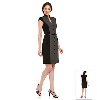 Calvin Klein Black and Charcoal Colorblocked Sheath Dress
