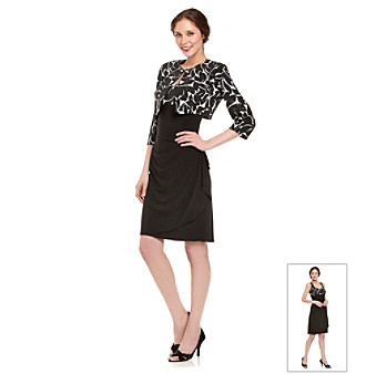 MSK® Black and White Sleeveless Dress with Jacket