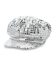 Miss Attitude Girls' Silver Sequin Cabbie Hat