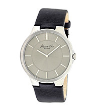 Kenneth Cole New York® Men's Silver Dial Black Strap Watch
