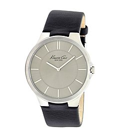 Kenneth Cole New York® Men's Silvertone Dial Black Strap Watch