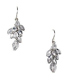 BT-Jeweled Silvertone Metallic Bead Cluster Earrings
