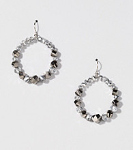 BT-Jeweled Silvertone Metallic Gypsy Hoop Earrings