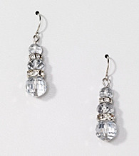 BT-Jeweled Silvertone Metallic Drop Earrings