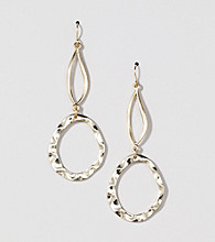 Erica Lyons® Gold Tone 2 Drop Oval Earrings