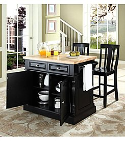 Crosley Furniture Butcher Block Top Kitchen Island with Shield-Back Stools