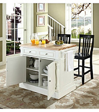 Crosley Furniture Butcher Block Top Kitchen Island with Schoolhouse Stools