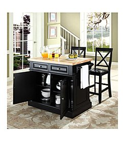 Crosley Furniture Butcher Block Top Kitchen Island with X-Back Stools