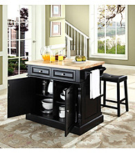Crosley Furniture Butcher Block Top Kitchen Island with Saddle Stools