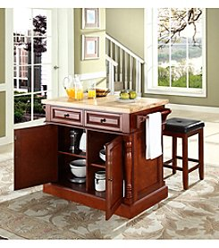 Crosley Furniture Butcher Block Top Kitchen Island with Square Seat Stools