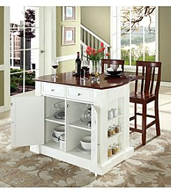 Crosley Furniture Drop-Leaf Kitchen Island with Shield-Back Stools