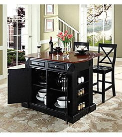 Crosley Furniture Drop-Leaf Kitchen Island with X-Back Stools