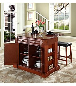 Crosley Furniture Drop-Leaf Kitchen Island with Saddle Stools