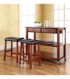 Crosley Furniture Kitchen Cart with Saddle Stools