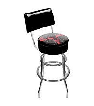 Trademark Global Hunt Skull Padded Swivel Bar Stool with Back