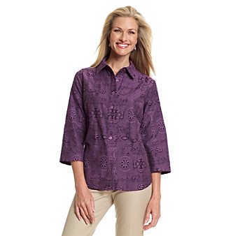 Breckenridge® Tudor Purple Print Jacquard Shirt