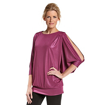 MSK® Ruby Metallic Cold-Shoulder Rhinestone-Embellished Top