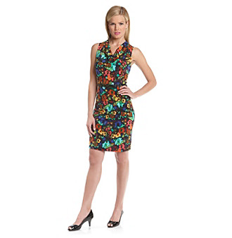 Calvin Klein Blue Multi Floral Cowlneck Dress