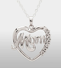Sterling Silver Diamond Mom Heart Pendant