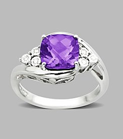 Sterling Silver Diamond Accented Amethyst Ring, .03 CTTW