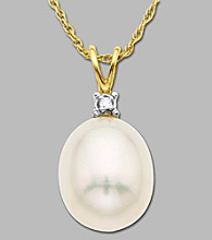 10K Yellow Gold Diamond Accented Freshwater Pearl Drop Pendant, .005 CTTW