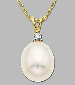 10K Yellow Gold Diamond Accented Freshwater Pearl Drop Pendant, .005 ct. t.w.