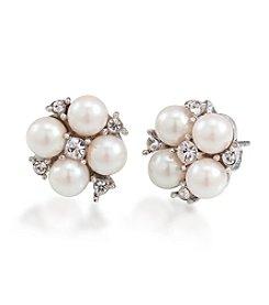 Carolee® Silvertone Small Cluster Button Earrings