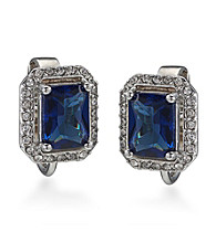 Carolee® Simply Blue Button Crystal Earrings