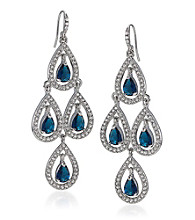 Carolee® Simply Blue Crystal Teardrop Chandelier Earrings