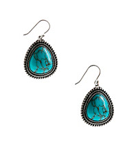 Lucky Brand® Silvertone Finish Turquoise Drop Earrings