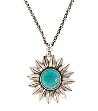 Lucky Brand® Silvertone Finish Floral Pendant Accented with Turquoise Stone Necklace