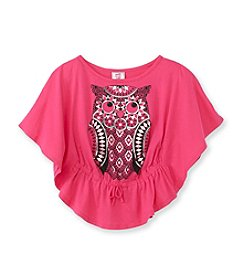 Beautees Girls' 7-16 Fuchsia Owl Circle Top