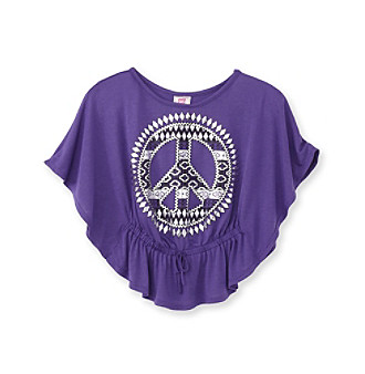Beautees Girls' 7-16 Purple Peace Circle Top