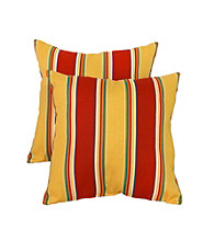Greendale Home Fashions Set of 2 Carnival Stripe Outdoor Accent Pillows