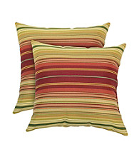 Greendale Home Fashions Set of 2 Kinnabari Stripe Outdoor Accent Pillows