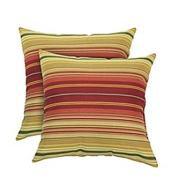 Greendale Home Fashions Set of Two Kinnabari Stripe Outdoor Accent Pillows