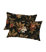 Greendale Home Fashions Set of 2 Midnight Floral Rectangle Outdoor Accent Pillows