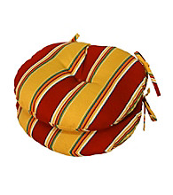Greendale Home Fashions Set of 2 Carnival Stripe Round Outdoor Bistro Chair Cushion